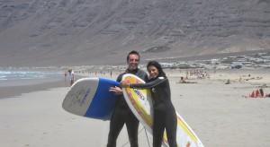 En la escuela de surf en lanzarote